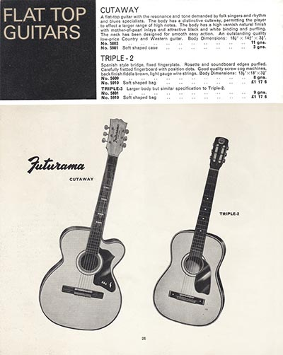 1966 Selmer guitar and bass catalogue page 26 - Futurama cutaway and triple-2 acoustics