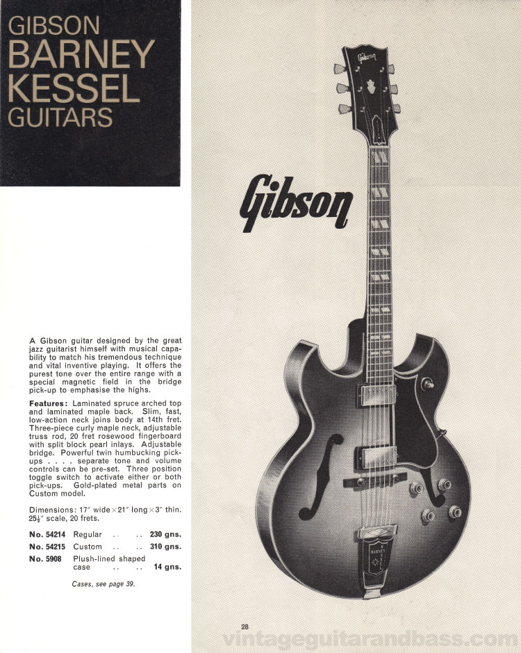 1966 Selmer Catalogue page 28, Gibson Barney Kessel electric acoustic guitar