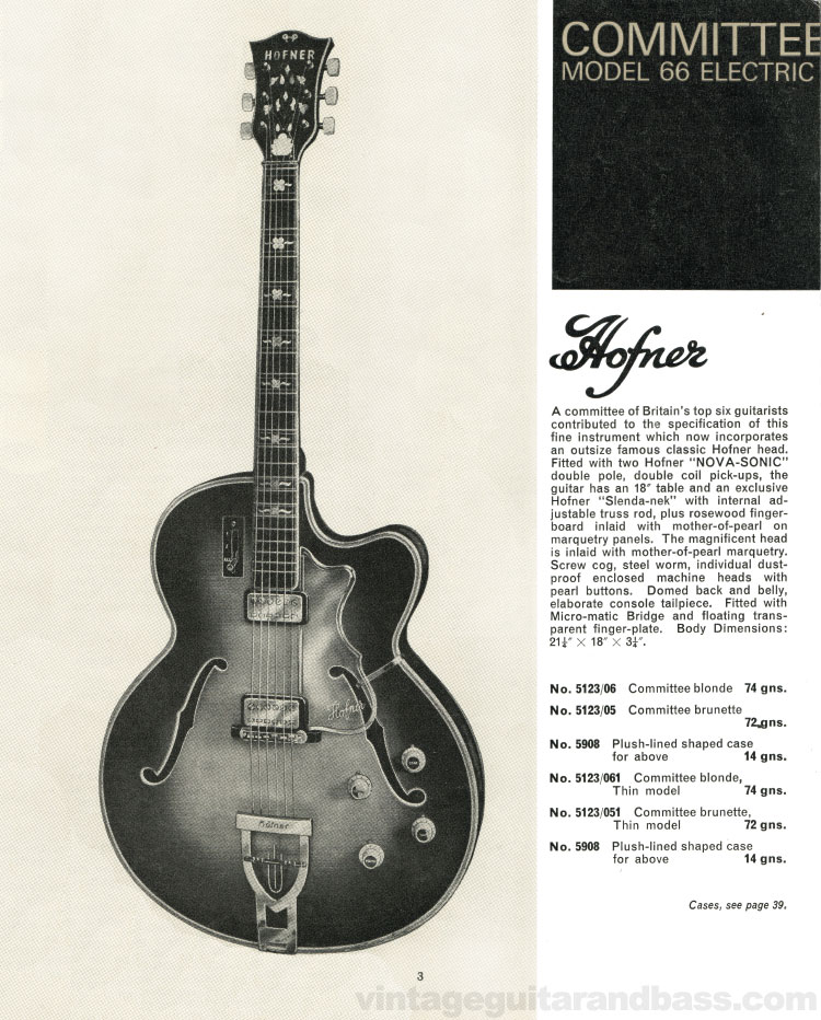1966 Selmer Catalogue page 3, Hofner Committee