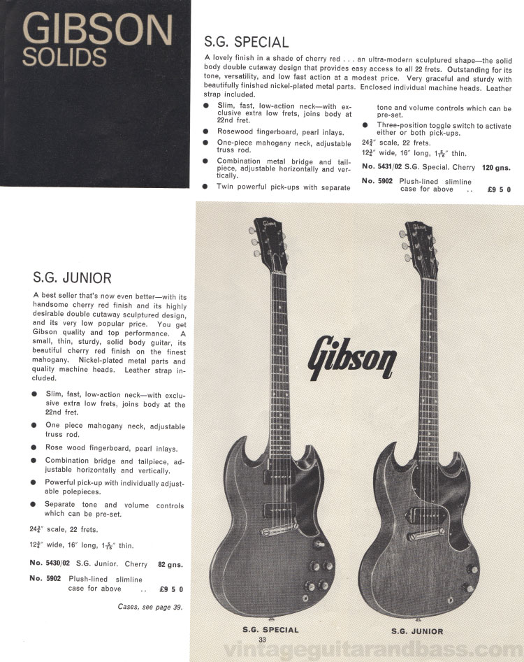 1966 Selmer Catalogue page 33, Gibson SG Special and SG Junior guitars