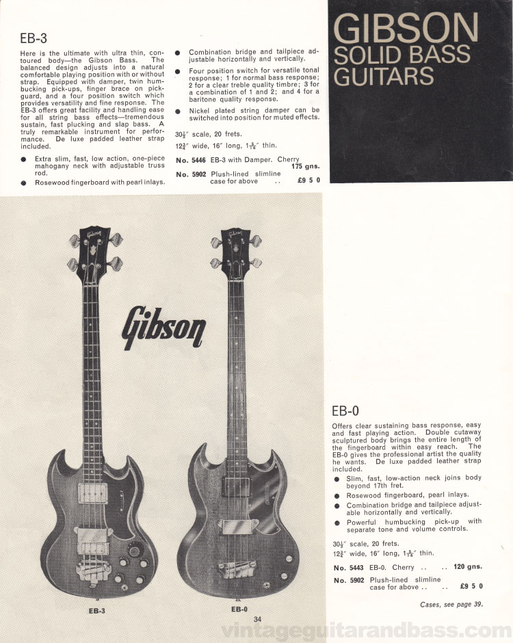 1966 Selmer Catalogue page 34, Gibson EB-0 and EB-3 electric bass guitars