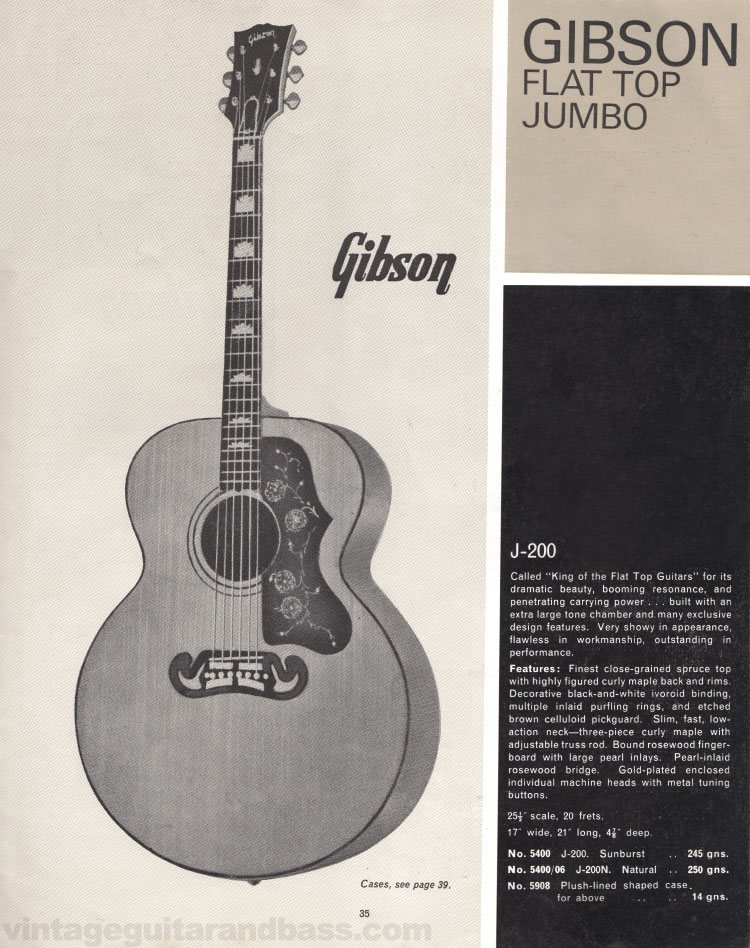 1966 Selmer Catalogue page 35, Gibson J-200 Flat-Top Jumbo electric acoustic guitar