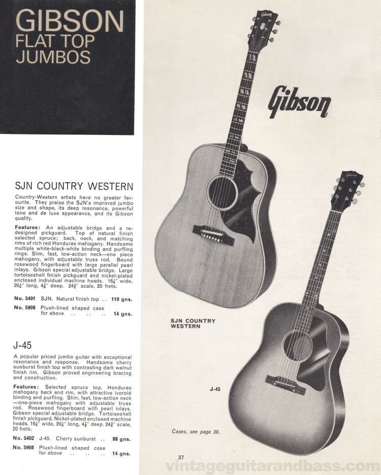 1966 Selmer Catalogue page 37, Gibson SJN Country Western and J-45 flat-top jumbo acoustic guitars