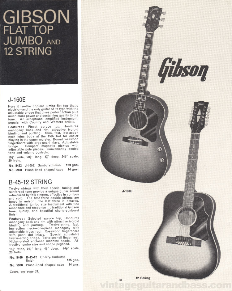1966 Selmer Catalogue page 38, J-160E and B-45 12-string guitars