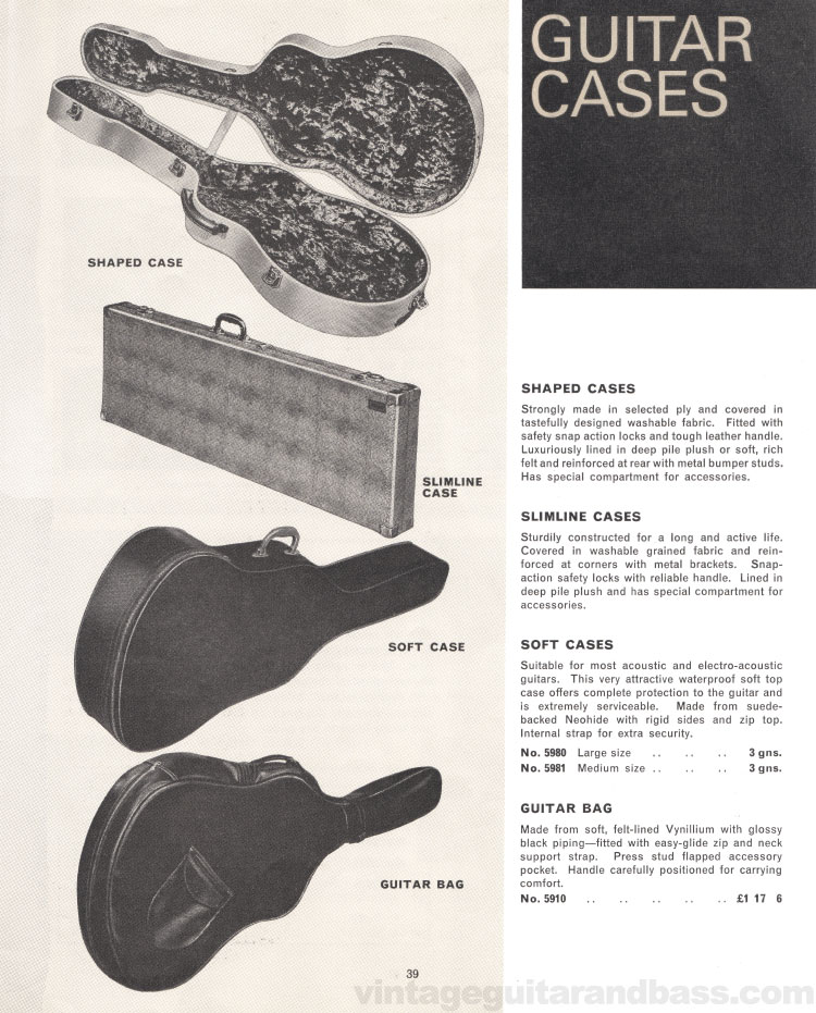 1966 Selmer Catalogue page 39, guitar cases