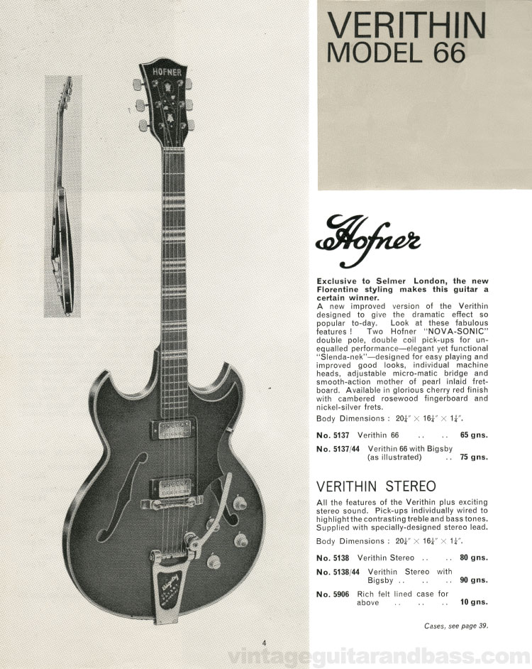 1966 Selmer Catalogue page 4, Hofner Verithin