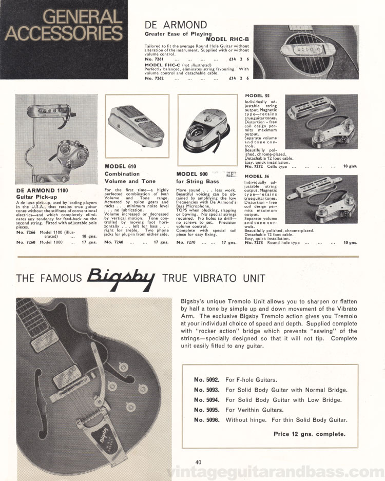 1966 Selmer Catalogue page 40, guitar cases