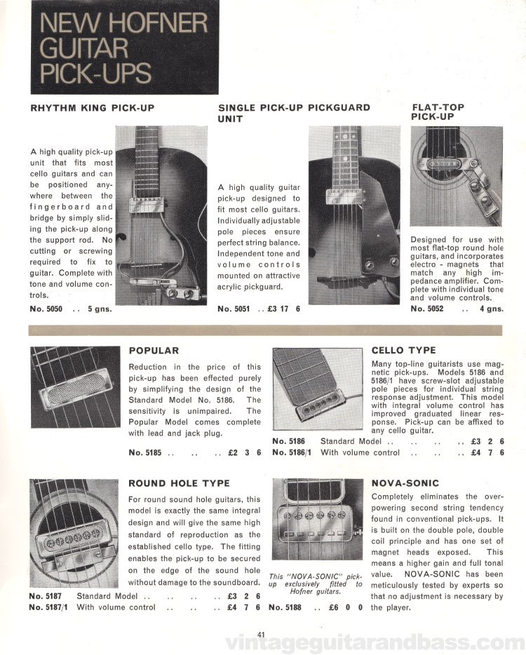 1966 Selmer Catalogue page 41, guitar cases