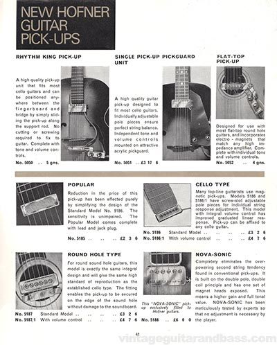 1966 Selmer guitar and bass catalogue page 41