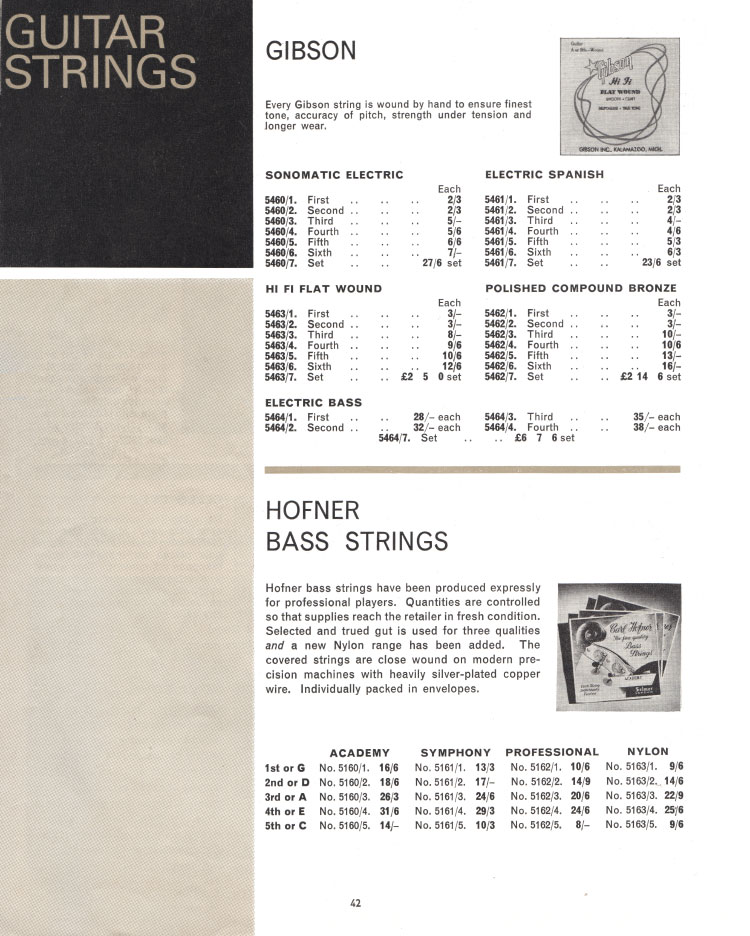 1966 Selmer Catalogue page 42, guitar cases