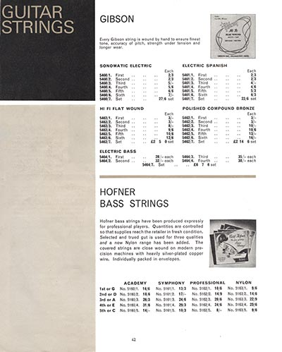 1966 Selmer guitar and bass catalogue page 42
