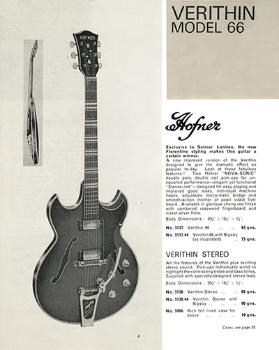 1966 Selmer guitar and bass catalogue page 4 - Hofner Verithin