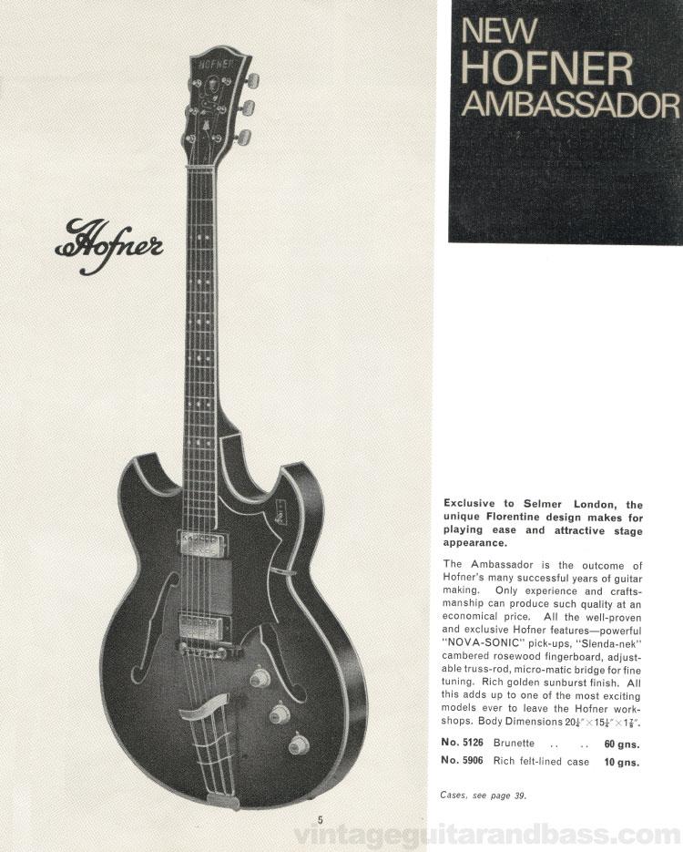 1966 Selmer Catalogue page 5, Hofner Ambassador