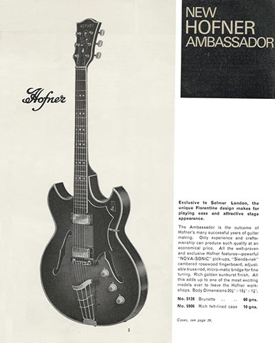 Hofner Ambassador from the 1965/66 Selmer catalogue