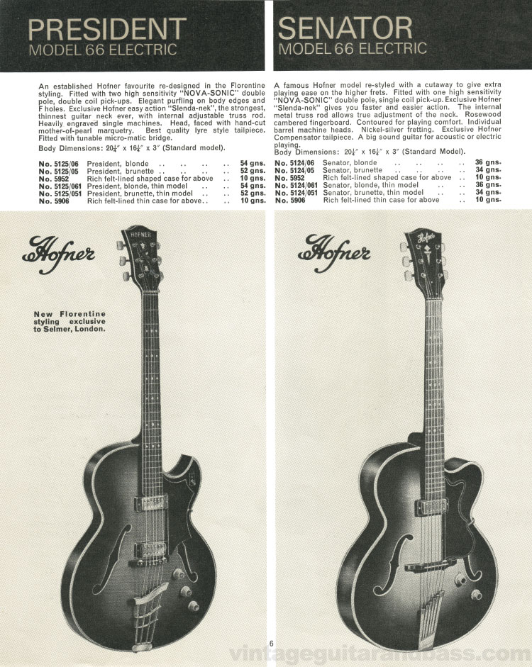 1966 Selmer Catalogue page 6, Hofner President and Hofner Senator