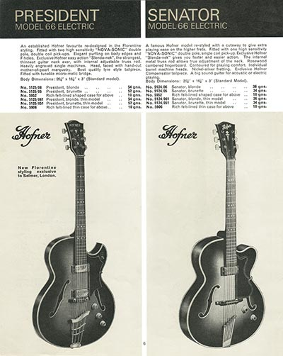 1966 Selmer guitar and bass catalogue page 6 - Hofner President and Senator Electric