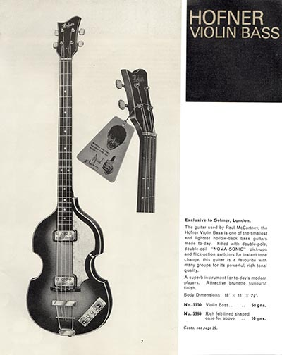 1966 Selmer guitar and bass catalogue page 7 - Hofner Violin bass