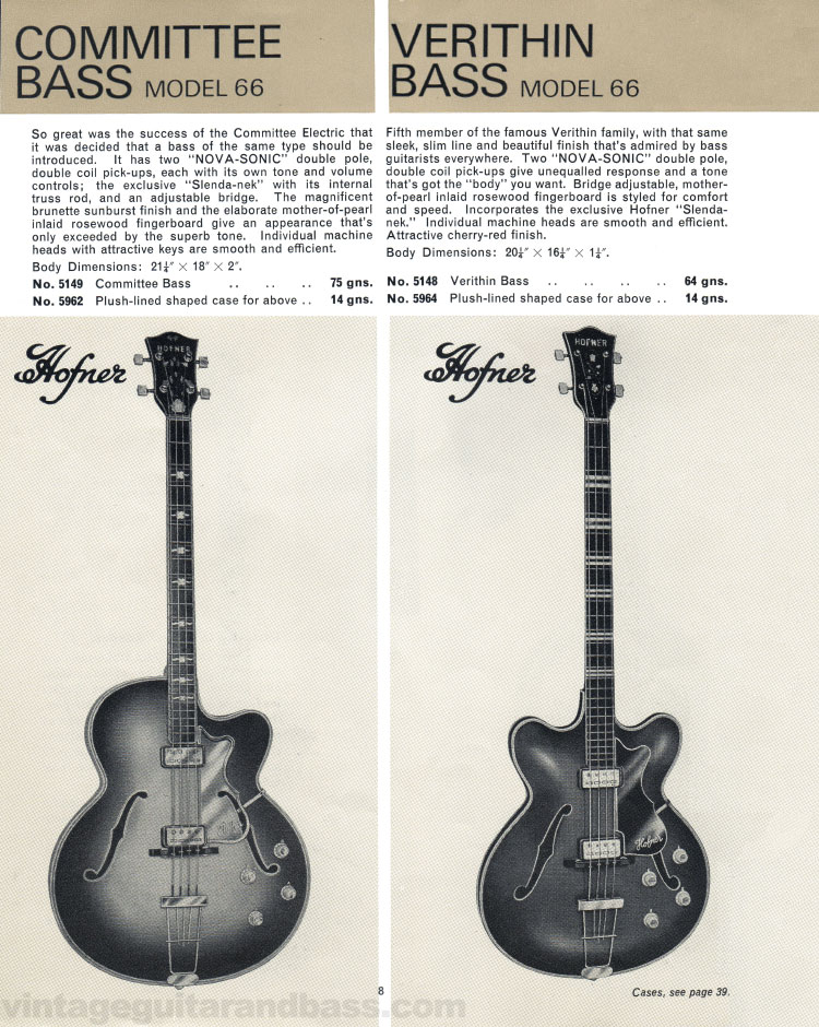 1966 Selmer Catalogue page 8, Hofner Committee and Verithin bass guitars