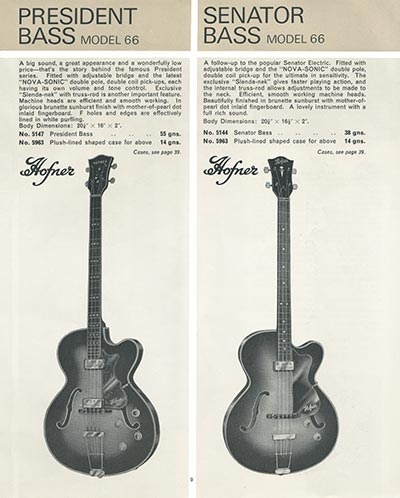 1966 Selmer guitar and bass catalogue page 9 -  Hofner President bass and Senator bass