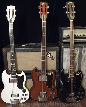 Three Gibson EB3L bass guitars