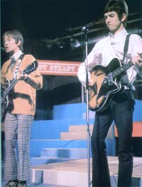 Ronnie Lane and Steve Marriot from the Small Faces performing on Ready Steady Go; Check out the H22 with black pickguard