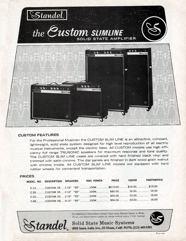 Standel advertisement (1969) The Custom Slimline Solid State Amplifier