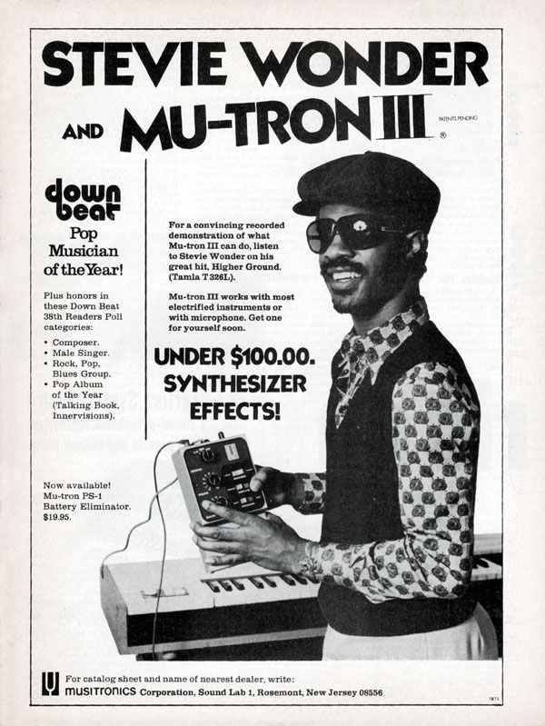 Musitronics advertisement (1974) Stevie Wonder and Mutron III