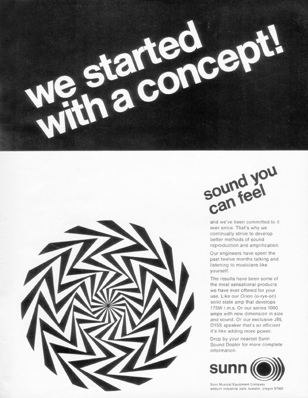 Sunn advertisement (1969) We Started with a Concept! Sound You Can Feel
