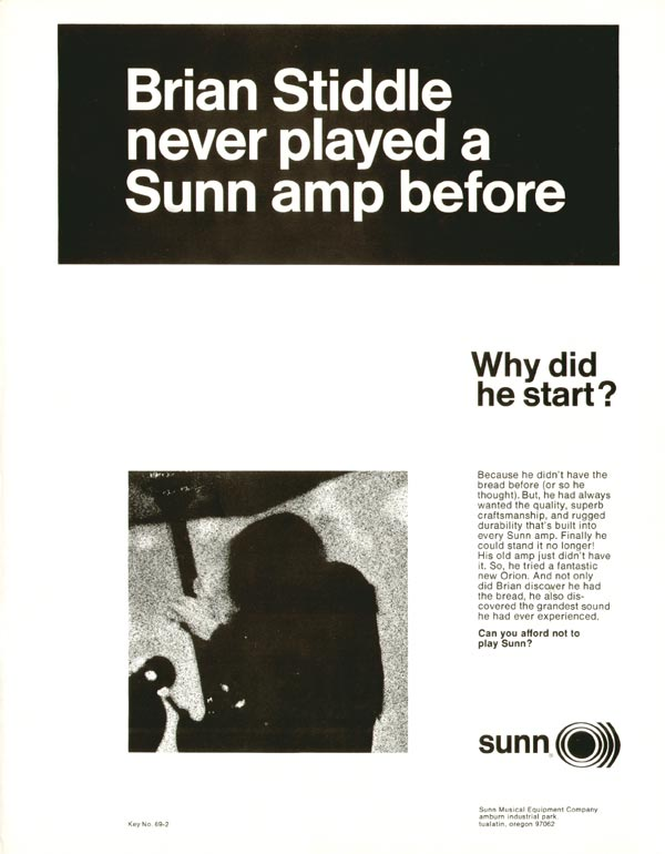 Sunn advertisement (1969) Brian Stiddle Never Played a Sunn Amp Before