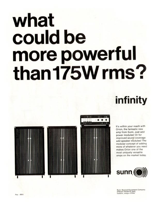 Sunn advertisement (1969) What Could Be More Powerful Than 175W rms?