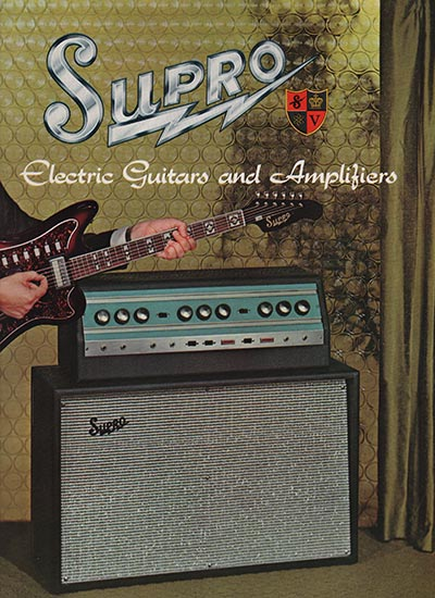 1966 Supro electric guitar, bass and amplifier catalogue cover