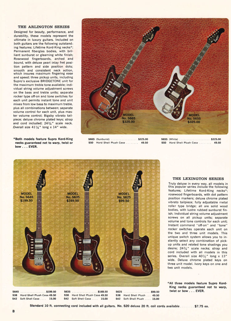 Supro Arlington and Supro Lexington guitars - 1966 Supro electric guitar, bass and amplifier catalogue page 2