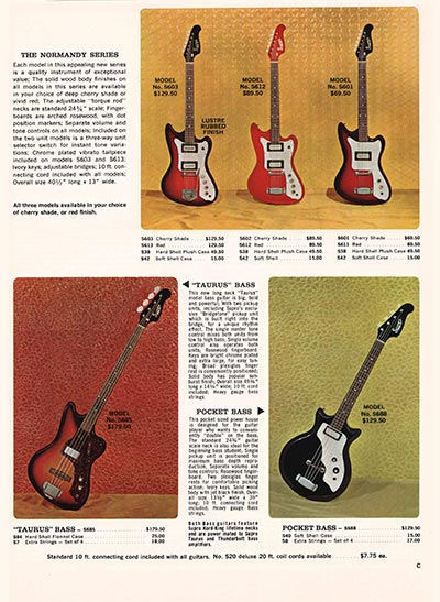 1966 Supro electric guitar, bass and amplifier catalogue page 3