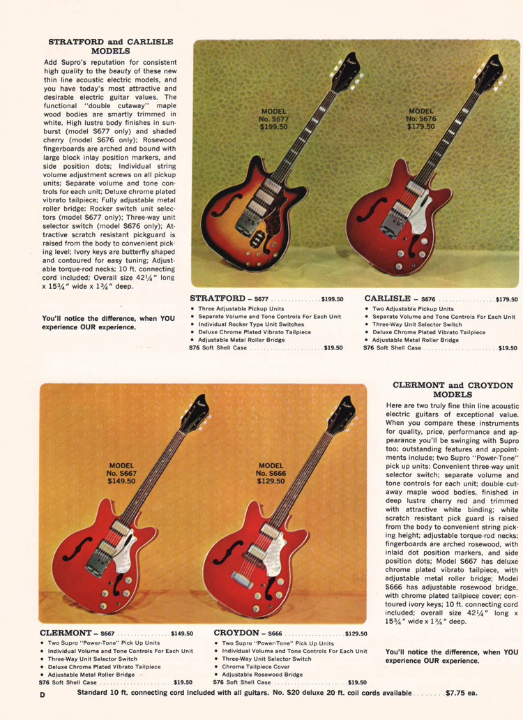 1966 Supro electric guitar, bass and amplifier catalogue page 4