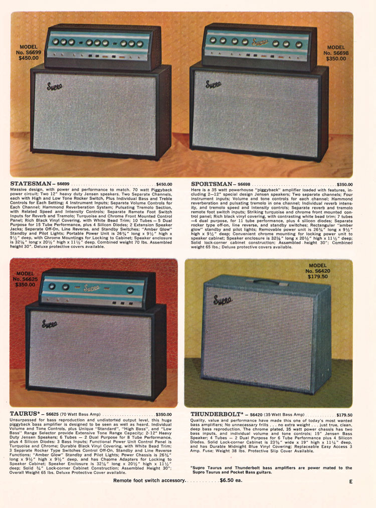 1966 Supro electric guitar, bass and amplifier catalogue page 5