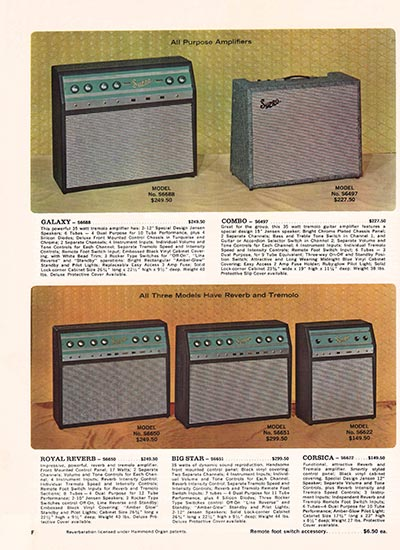 1966 Supro electric guitar, bass and amplifier catalogue page 6