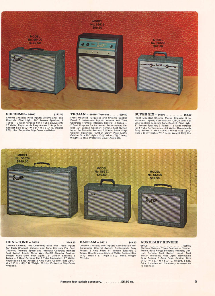 1966 Supro electric guitar, bass and amplifier catalogue page 7