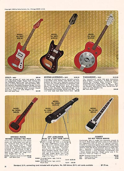 1966 Supro electric guitar, bass and amplifier catalogue back cover