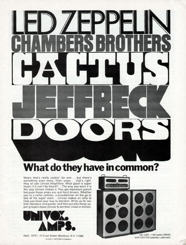 Univox advertisement (1973) Led Zeppelin, Chambers Brothers, Cactus, Jeff Beck, Doors. What Do They Have In Common