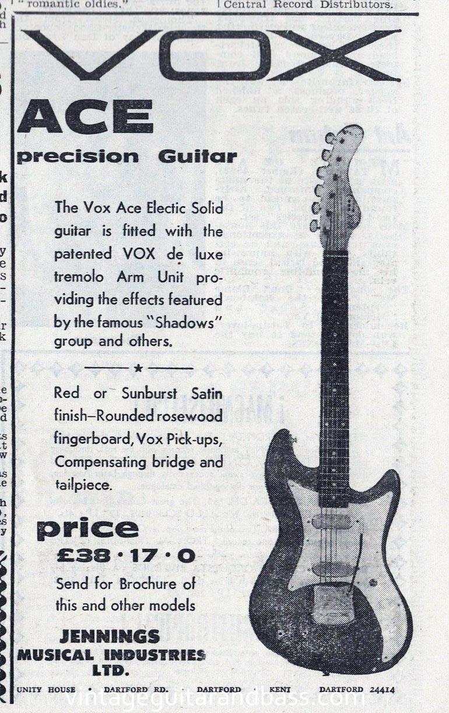 Vox advertisement (1961) Vox Ace Precision Guitar