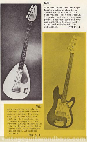 The Vox Symphonic bass as featured in the 1969 Dallas Arbiter catalog