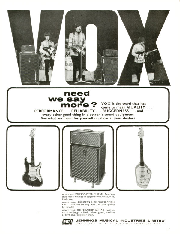 Vox advertisement (1965) Vox - Need We Say More?
