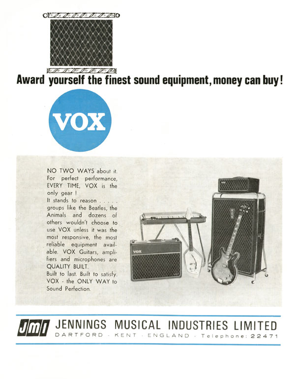 Vox advertisement (1965) Award yourself the finest sound equipment, money can buy!