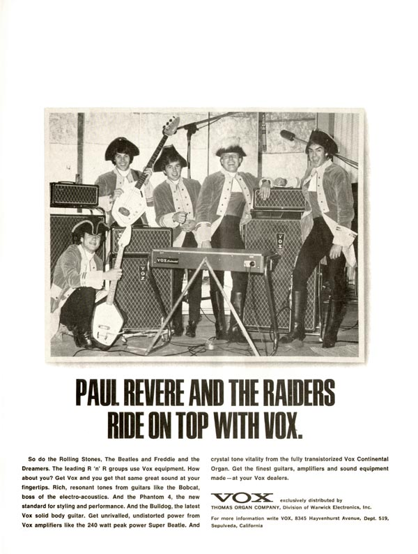 Vox advertisement (1966) Paul Revere and the Raiders Ride on Top with Vox