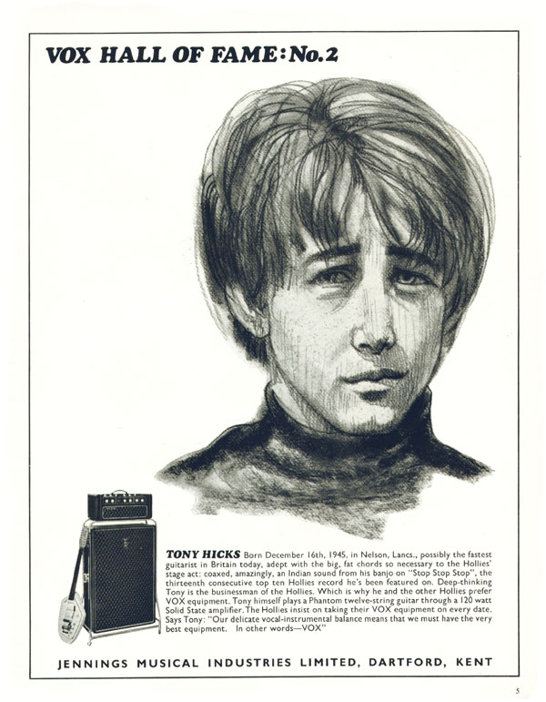 Vox advertisement (1967) Vox Hall of Fame: No 2 Tony Hicks