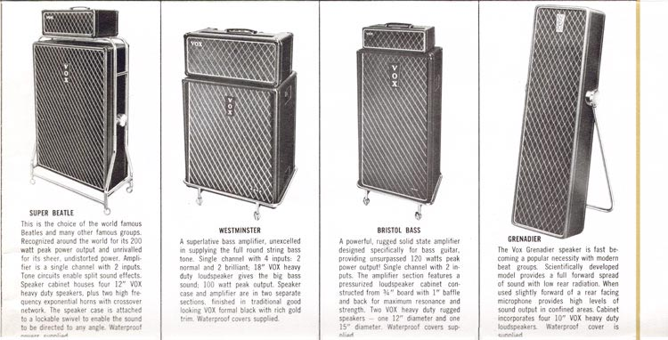 1965 Vox guitar, bass, organ and amplifier catalogue page 11