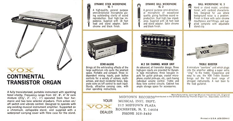 1965 Vox guitar, bass, organ and amplifier catalogue - Vox Continental organ