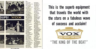 1965 Vox guitar and bass catalogue page 2