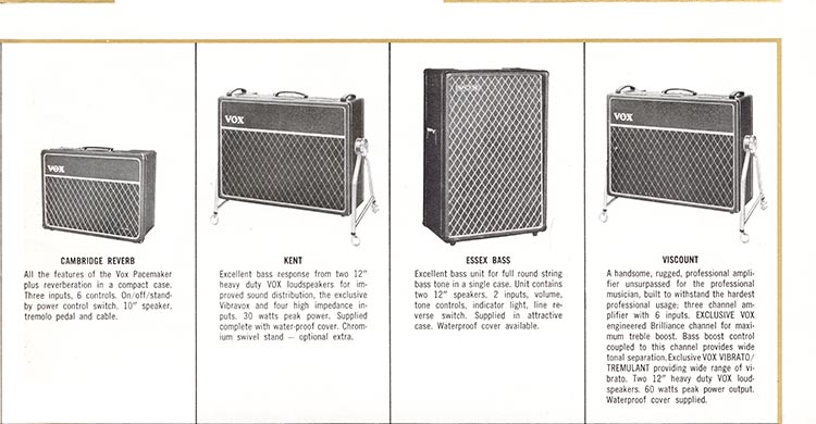 1965 Vox guitar, bass, organ and amplifier catalogue page 9