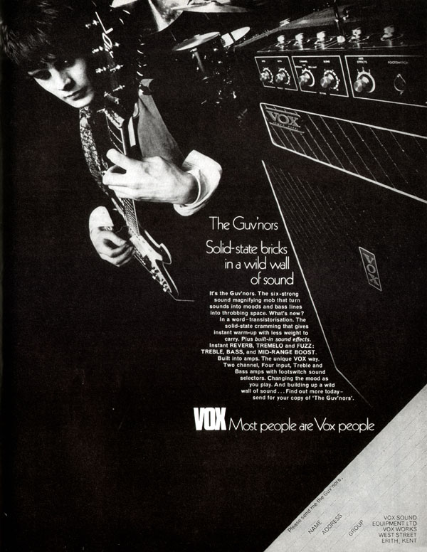 Vox advertisement (1970) The Guvnors. Solid-State Bricks in a Wild Wall of Sound